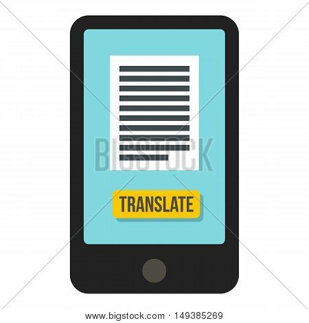 Translator on phone icon in flat style isolated on white background. Translate symbol vector illustration