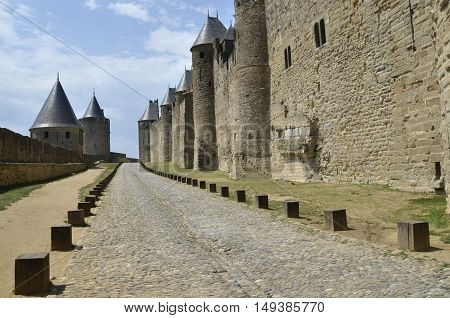 around the ramparts of Carcassonne in France