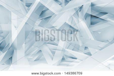 Chaotic Girders Polygonal Pattern. Blue Toned 3D