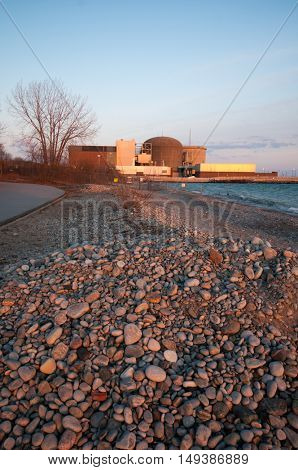A view of a nuclear power plant in Pickering, Lake Ontario, Canada