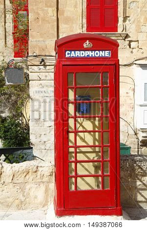 Traditional English Red Phone Booth In Valletta, Malta