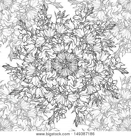 Seamless pattern with bellflowers. Floral ornament. Watercolor background