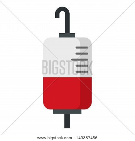 Package for blood transfusion icon in flat style isolated on white background. Treatment symbol vector illustration