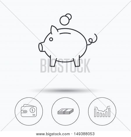 Piggy bank, cash money and dynamics chart icons. USD wallet linear sign. Linear icons in circle buttons. Flat web symbols. Vector