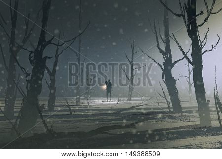 man holding lantern stands in dark forest with fog, illustration painting