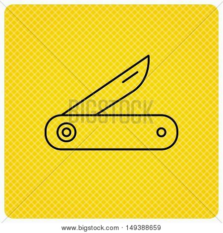 Multitool knife icon. Multifunction tool sign. Hiking equipment symbol. Linear icon on orange background. Vector