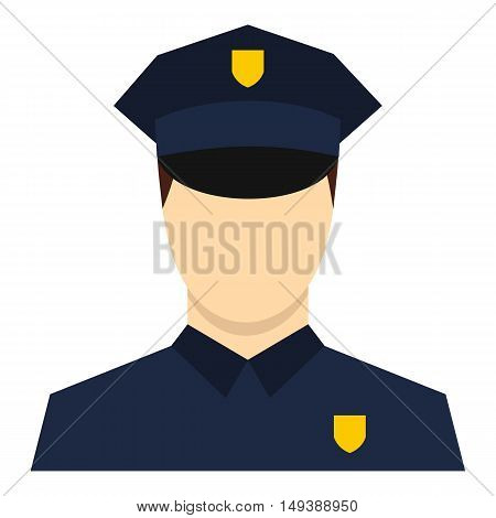 Policeman icon in flat style isolated on white background. Job symbol vector illustration
