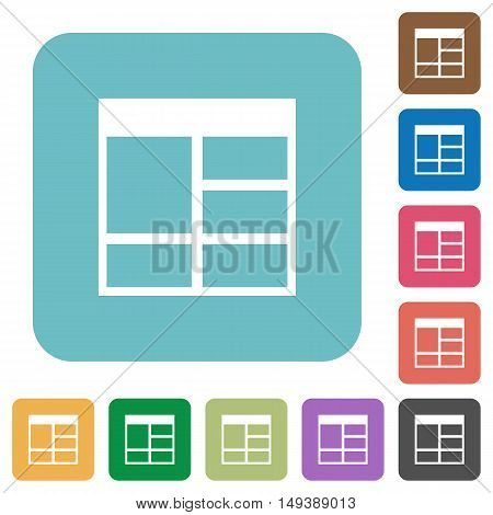 Flat Spreadsheet vertically merge table cells icons on rounded square color backgrounds.