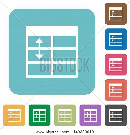 Flat Spreadsheet adjust table row height icons on rounded square color backgrounds.