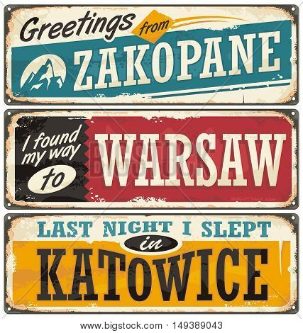 Poland cities and travel destinations. Retro metal plates set on old damaged background. Vintage vector souvenir sign or postcard templates.