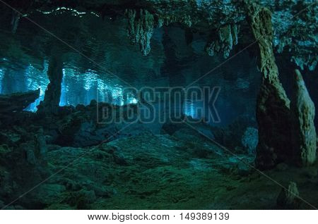 One of the halls of Dos ojos cave, Yucatan peninsula, Mexico
