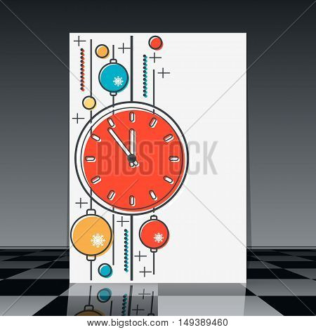 Christmas and New Year thin line art style flyer with clock and colorful balls vector template