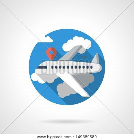 White jetliner flying in a blue sky with red pointer. Abstract illustration of passenger airplane. Tourism and business journey. Travel agency services. Round detailed flat color style vector icon.