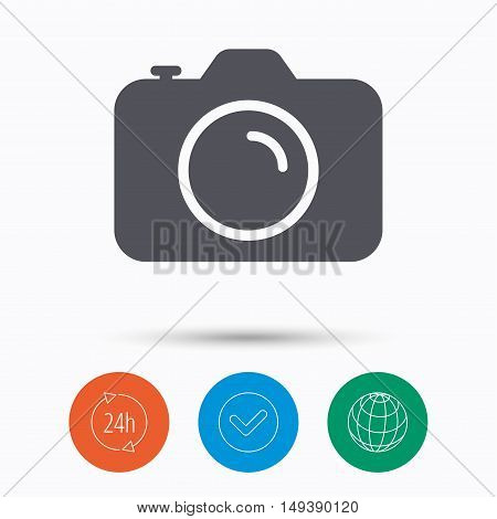 Camera icon. Professional photocamera symbol. Check tick, 24 hours service and internet globe. Linear icons on white background. Vector