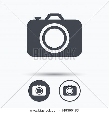 Camera icon. Professional photocamera symbol. Circle buttons with flat web icon on white background. Vector