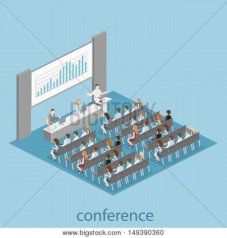 Business Meeting In An Office Business Presentation Meeting In Conference Hall. People Listen To Spe