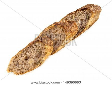 Slices of fresh homemade Alpine Baguette isolated over white. Healthy food concept.