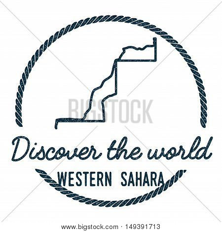 Western Sahara Map Outline. Vintage Discover The World Rubber Stamp With Western Sahara Map. Hipster