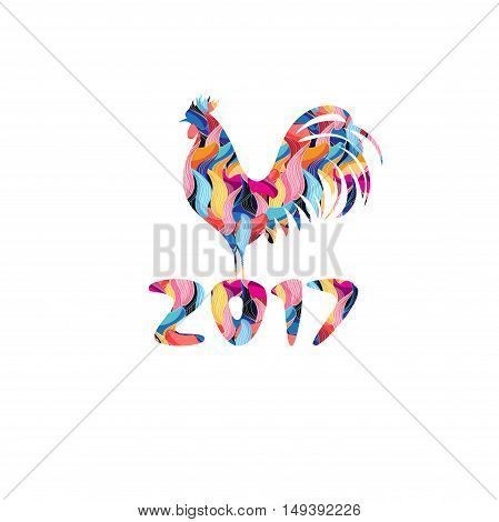 Color interesting silhouette sign of the rooster. The symbol of the New year.