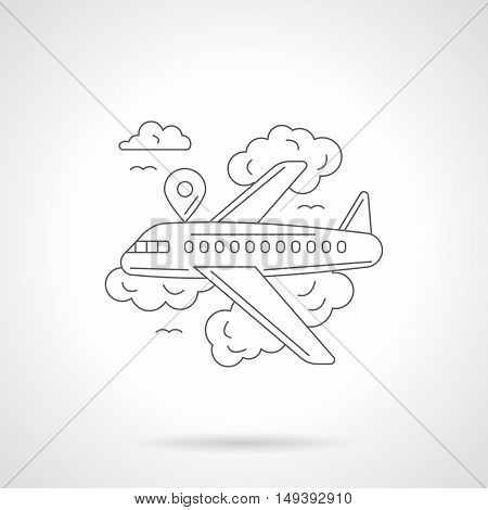 Abstract illustration of airline travel, business trip or vacation journey. View of airliner in a sky with clouds. Detailed flat line vector icon. Web design element.