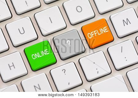 Online or Offline choice on white keyboard