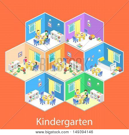 Isometric Interior Of Room In The Kindergarten. Children Draw. Flat 3D Illustration