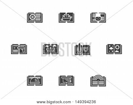 Abstract silhouette of opened book different genres - fantasy, horror, handmade lessons, culinary and others. Library and bookstore. Set of symbolic black monochrome design vector icons.