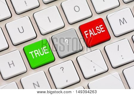 True or False choice on white keyboard