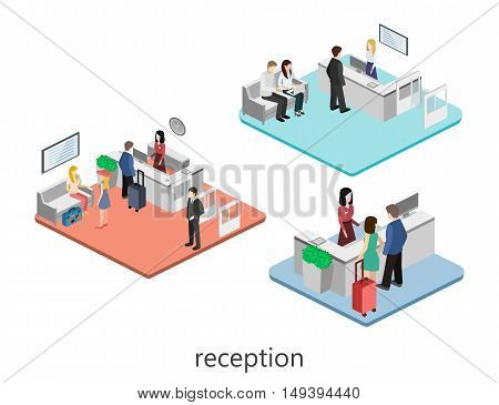 Isometric Interior Of Reception.