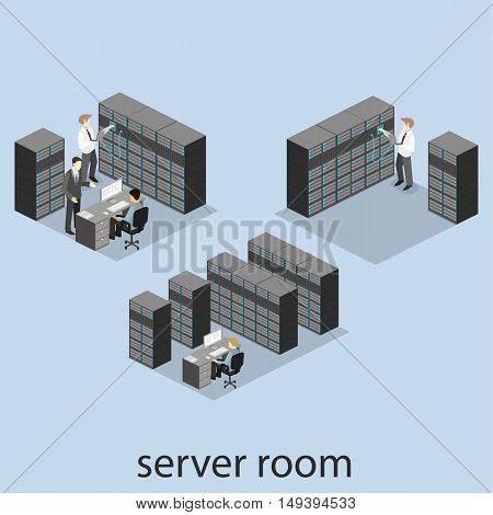 Isometric Interior Of Server Room. Flat 3D Illustration.