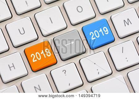 Year 2018 to year 2019 on white keyboard