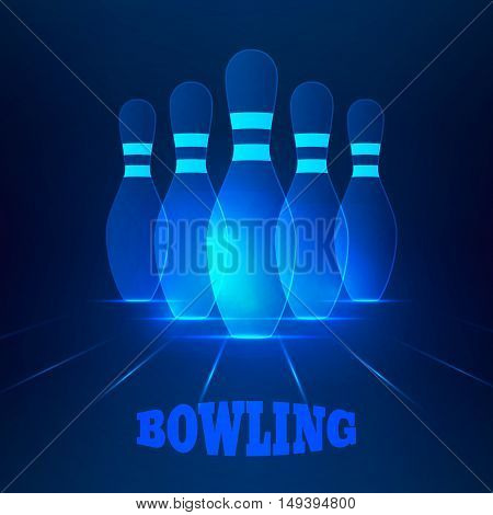 Bowling banner with blue glowing skittles.Vector illustration