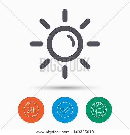 Sun icon. Sunny weather symbol. Check tick, 24 hours service and internet globe. Linear icons on white background. Vector