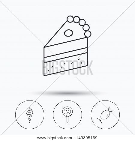 Cake, candy and ice cream icons. Piece of cake, lolly pop linear sign. Linear icons in circle buttons. Flat web symbols. Vector