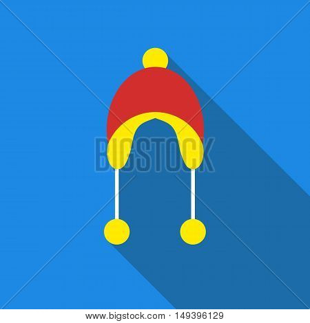Winter hat icon in flat style isolated with long shadow vector illustration