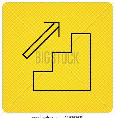Upstairs icon. Direction arrow sign. Linear icon on orange background. Vector