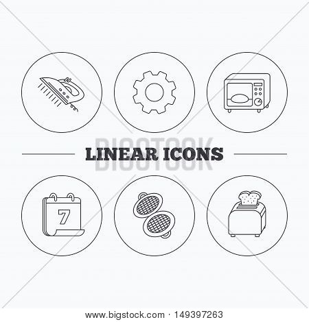 Microwave oven, waffle-iron and toaster icons. Steam ironing linear sign. Flat cogwheel and calendar symbols. Linear icons in circle buttons. Vector