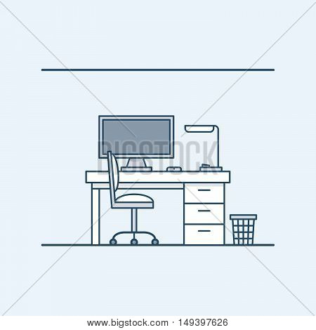Modern interior design workplace in the home or office. The computer and desk lamp. chair and wastebasket. Vector illustration in linear style, isolated on gray background