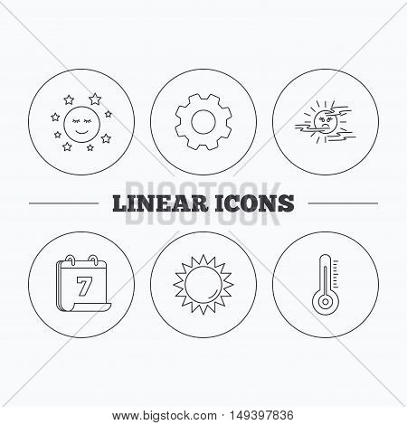 Thermometer, sun and mist icons. Moon night linear sign. Flat cogwheel and calendar symbols. Linear icons in circle buttons. Vector