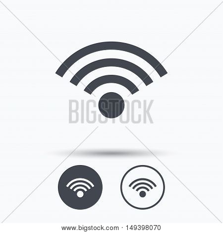 Wifi icon. Wireless internet sign. Communication technology symbol. Circle buttons with flat web icon on white background. Vector