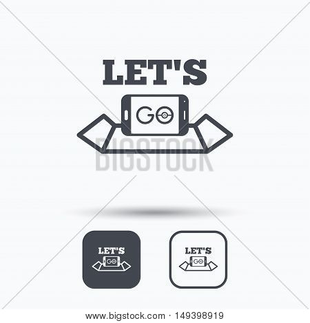 Smartphone icon. Let's Go symbol on map. Pokemon game concept. Square buttons with flat web icon on white background. Vector