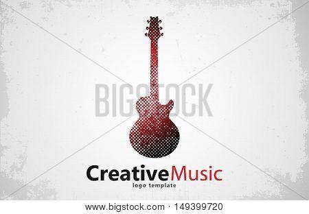 Guitar logo. Creative guitar logo. Music logo. Music logo design