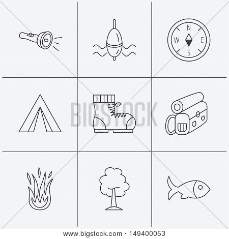 Maple tree, fishing float and hiking boots icons. Compass, flashlight and fire linear signs. Camping tent, fish and backpack icons. Linear icons on white background. Vector