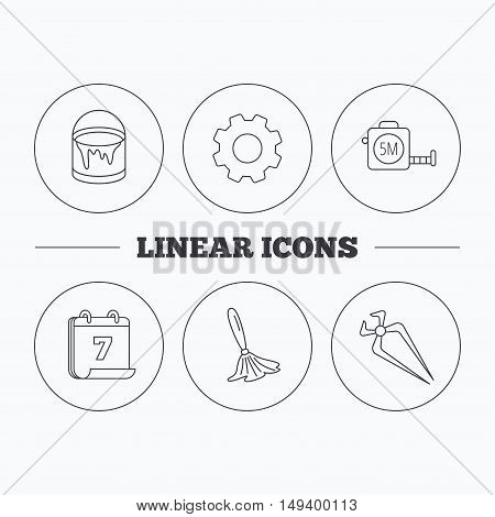 Tape measure, bucket of paint and paint brush icons. Nippers linear sign. Flat cogwheel and calendar symbols. Linear icons in circle buttons. Vector