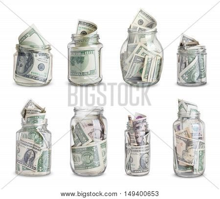 Money in jars collection. Isolated on white