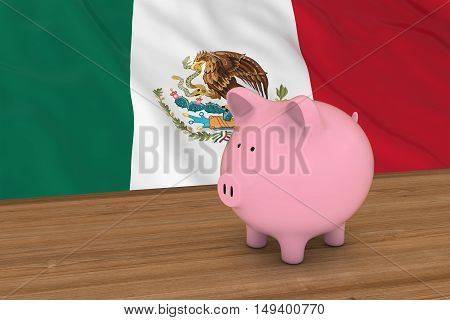 Mexico Finance Concept - Piggybank In Front Of Mexican Flag 3D Illustration