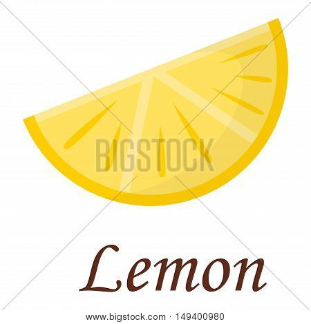 Slice of fresh lemon isolated on white background fruit. Limon slice vector citrus food, juicy organic sweet vitamin. Tasty healthy cut exotic fruit.