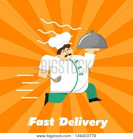 Chef in white uniform running with restaurant cloche isolated on striped orange background. Fast food delivery design, vector illustration. Shipping and moving concept. Courier service.