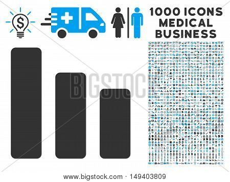 Bar Chart Decrease icon with 1000 medical business gray and blue vector design elements. Design style is flat bicolor symbols, white background.