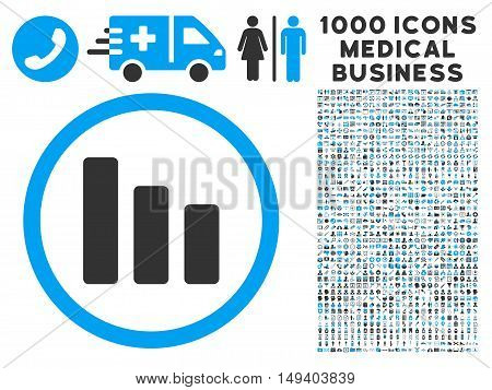 Bar Chart Decrease icon with 1000 medical commercial gray and blue vector design elements. Design style is flat bicolor symbols, white background.